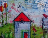 "Original Mixed Media- 8x10 wrapped canvas - Painting Home Decor Art Work - Folk Art - ""Home Sweet Home"""