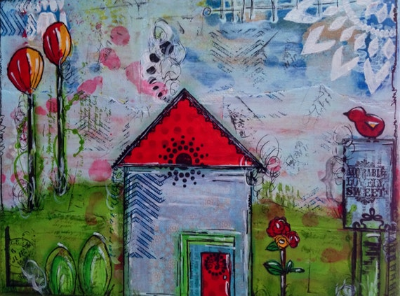 Original Mixed Media 8x10 Wrapped Canvas Painting Home