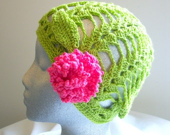 Lime green crochet hat with pink flower/Women/Teens by AngelAndFairyDesigns on Etsy.com