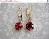 On Sale Ruby Rhinestone Gold Drop Earrings