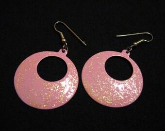 Vintage Pastel Pink and Glitter Enameled Circle Hoop Dangle Pierced Earrings
