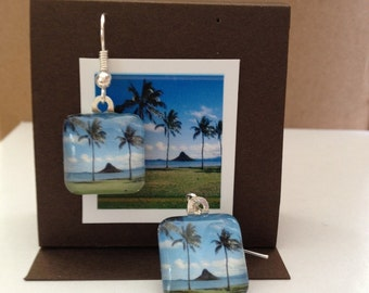 Glass Tile Photo Earrings - Chinaman's Hat