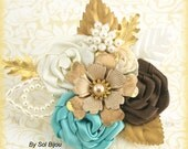 Brooch Boutonniere, Gold, Corsage, Button Hole, Mother of the Bride, Groom, Ivory, Brown, Turquoise, Aqua Blue, Pearls, Crystals, Elegant