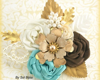 Boutonniere, Gold, Ivory, Brown, Turquoise, Aqua, Blue, Groom, Corsage, Vintage Style, Button Hole, Mother of the Bride, Pearls, Crystals