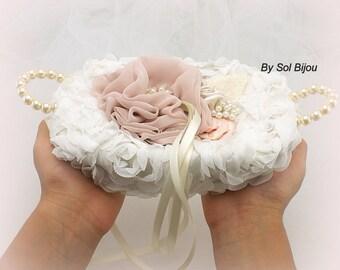 Wedding Ring Tray, Off White, Ivory, Champagne, Rose, Ring Tray, Alternative Pillow, Vintage Wedding, Pearl Handles, Elegant, Gatsby