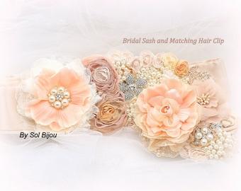Peach Sash, Bridal, Peach Hair Clip, Fascinator, Ivory, Champagne, Tan, Beige, Blush, Lace, Pearls, Crystals, Brooch, Vintage Wedding