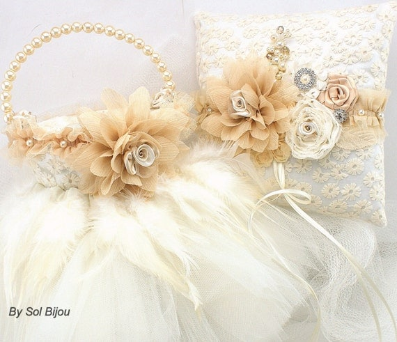 Ring Bearer Pillow and Tutu Flower Basket Set in Champagne and Ivory with Pearls and Feathers- Vintage Obsession