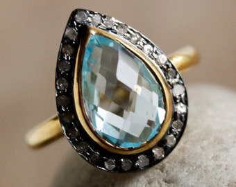 50% OFF Sky Blue Topaz Champagne Diamond Ring - Birthstone Ring