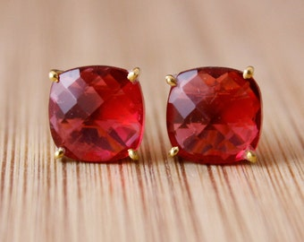 Red Ruby Quartz Stud Earrings - Prong Set Studs - Pop of Red, Fall Fashion