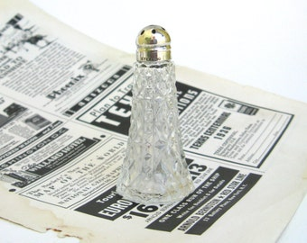 vintage sterling and pressed glass shabby chic salt shaker