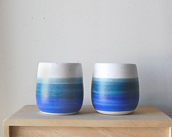 Vintage Pair of Handmade Earthy Small Ceramic Blue and White Stripe Tea Cups