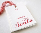 SALE Letterpress Gift Tags - From Santa Calligraphy Set of 10