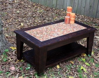 "Coffee Table with Shelf, Tile Mosaic, Reclaimed Wood, Rustic Contemporary, ""Stained Glass Medley"", Java Finish - Handmade"