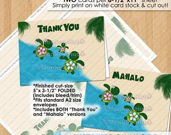 Honu Turtle baby shower Thank You card cards notes / sea turtles / beach luau pink GIRL mommy daddy family foldable / INSTANT DOWNLOAD