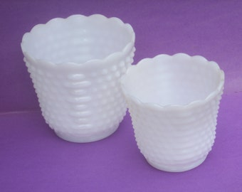 Pair of White Milk Glass Scalloped  Planters