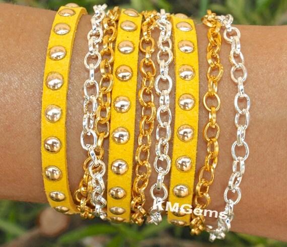 Boho Rolo Gold / Silver Chain Wrap Bracelet - Gold Rivets Faux Suede Cord Triple Wrap Stacking Bracelet - Pick SIZE / COLOR - Usa - 003