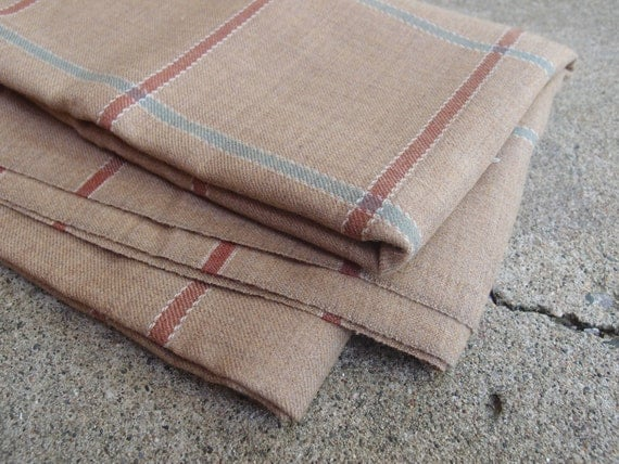 Vintage Fabric Wool Suiting Large Plaid Camel Sea Green Brown Sewing Supplies