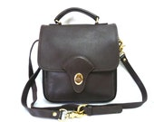 Brown Leather Purse Vintage Messenger Crossbody Handbag Coach design Kirkland bag