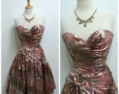 80s Dress Bronze pink Sweetheart Strapless Gunne Sax Corset Party Cocktail dress S