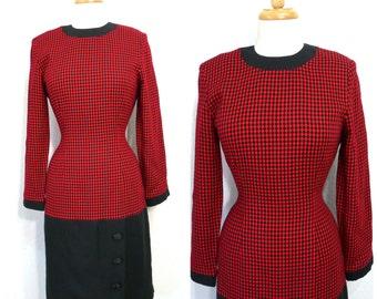 Vintage 70s Dress, Black and Red Diamond Plaid, Knee length, Leslie Fay  Small
