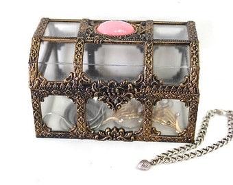 Vintage Jewelry Trinket box Casket Plastic Faux Brass Ornate Top plastic Pink Quartz Bead