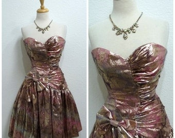 Vintage 80s Dress Bronze pink Sweetheart Strapless Gunne Sax Bow Party Cocktail dress Small