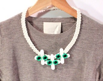 Future Ruff No.12 Reclaimed and Vintage Acrylic Necklace White Green Eye Eco Sustainable Jewelry Upcycled Statement Collar