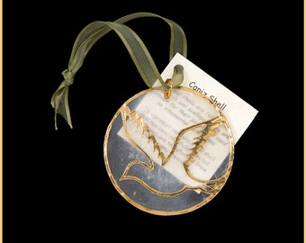 24k Gold Translucent Capiz Shell Ornaments With Fly Bird #2 Design