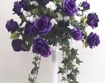 Tall Purple Roses Eiffel Tower, Centerpiece / Arrangement