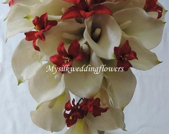 Red, White Real Touch / Latex Calla lily Silk  Wedding Bridal Cascade, Teardrop Bouquet