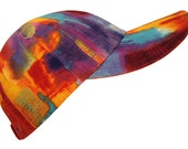 Heatwave - Bright Abstract Graffiti Tie-Dye Style Print Cool Summer Fashion Baseball Ball Cap Hat orange purple hot pink red gold metallic