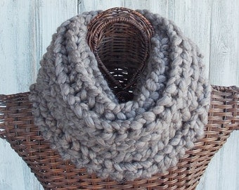 Cowl knitted in sparrow brown, soft and chunky wool fashion accessory for women
