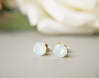 White Opal Crystal Earrings Swarovski Crystal Opalescent Dainty Gold Everyday Stud Earrings