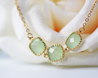 Light Mint Green Glass Pendant Necklace Gold Modern Simple Pale Green Glass