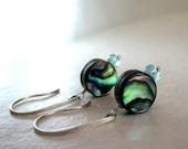 Blue Earrings, Abalone Earrings, Sterling Silver, Gemstone Earrings, Blue Green Earrings, Iridescent Abalone - Moonlit Sea