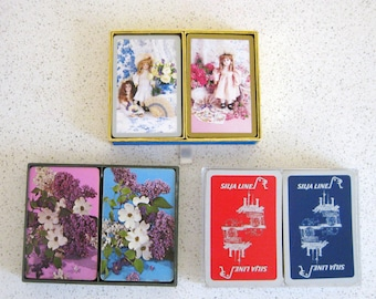 Vintage Bridge Cards Set of 3 Dolls Dogwoods Silja Oceanliner