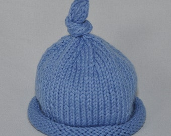 Rolled Brim Cotton Baby  Hat in, New Born, 0-3 months and 3-6 months