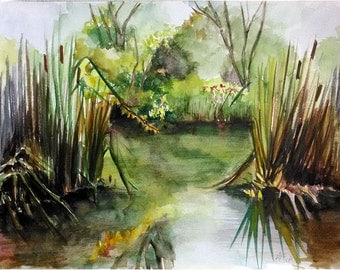 Original Nature Painting - 14x11 Plein Air Watercolor