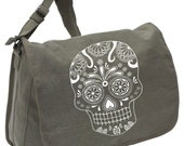 SUGAR SKULL BAG -- Canvas messenger bag -- large field bag -- adjustable strap skip n whistle