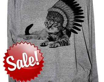 Cat sweatshirt - Cat Indian womens raglan American Apparel slouchy pullover - size sm med lg skip n whistle