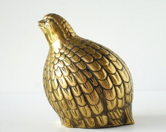 "Vintage Brass Quail Figurine 6.5"" tall 