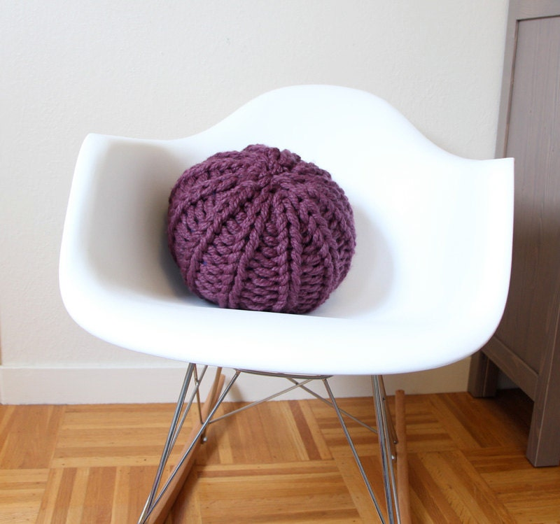 Small knit pouf - soft wool blend pillow or cushion