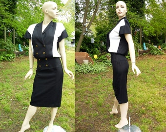 Donna Morgan Dress, 80s Dress in Black and White, Vintage Dress, Black & White Dress, Secretary Dress Size 2