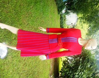80s Skirt & Vintage Sweater Set in Red and Blue / 80s Sweater and Vintage Skirt Set/ 80s Dress/ Vintage Dress by Leslie Fay Size Range 10-14