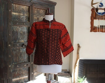 gorgeous boxy burgundy woven ethnic blouse