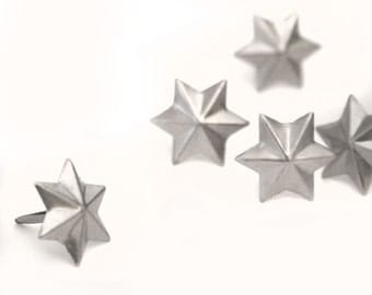 10 Small Pewter Star Brad Embellishments - Scrapbooking, Flower Middles