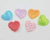 CRAZY DEAL - 28mm Polka Dots Satin Heart Shape Padded Applique - 30 pieces - Mix 6 Colours - Scrapbooking Embellishment