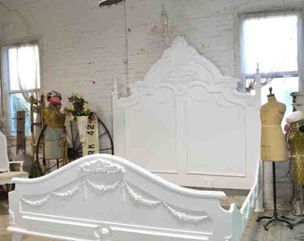 French Bed Painted Cottage Shabby Chic Romantic Queen / King Bed BD21