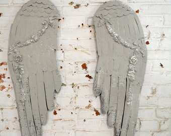 Painted Cottage Chic Shabby Farmhouse Angel Wings Wall Hanging