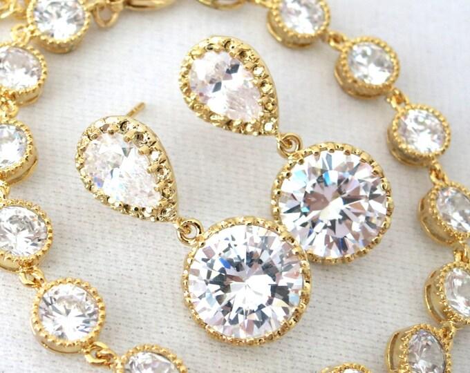Elli set  - Wedding Bridal CZ Earrings, Bridesmaids, Teardrop Crystal Bridesmaid Earrings, Bridal Jewelry, Gold, Silver, Bracelet